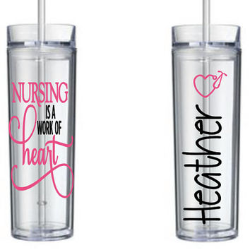 Personalized Nurse Tumbler - Occupation Theme - Thank You - Water Bottle - Work - Travel Mug - Beverage - Drink - Gift Idea - Birthday