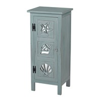 Normandy Shore Mirrored Seashell Cabinet By Sea Blue Painted Finish On Natural Wood Tone With Heavy White Antique And Distressing