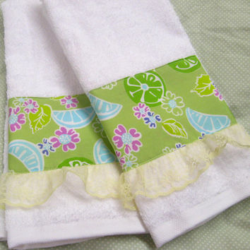 LILLY PULITZER  Lime green with yellow lace on Cotton handtowels - Custom Decorated Hand Towels - 100% Cotton
