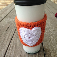 Crocheted Texas Longhorns Coffee Mug Cozy Orange & White - Team Coffee Cozy - Coffee Accessories - Tea Cozy - Gift Idea, College Coffee Cozy