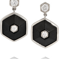 Fred Leighton - Collection 18-karat white gold, jade and diamond earrings