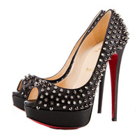 Christian Louboutin Lady Peep Spikes Platform Pumps Black [2011111003] - $199.00 : Christian Louboutin Shoes Sale, Enjoy 77% Off On Designer Outlet
