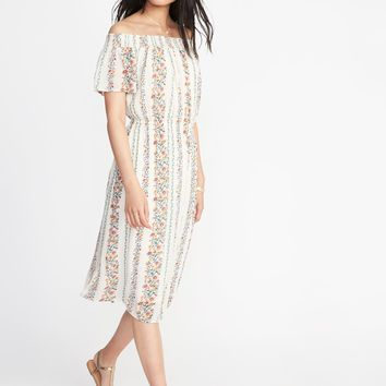 Off-the-Shoulder Waist-Defined Midi Dress for Women | Old Navy
