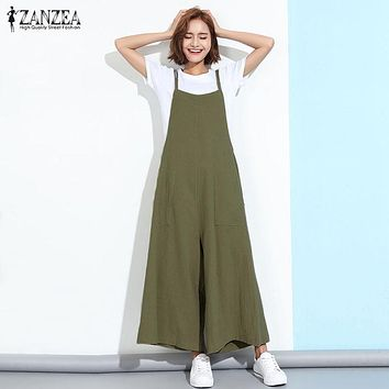 ZANZEA New Summer Rompers Womens Jumpsuits 2017 Sleeveless Straps Pockets Solid Wide Leg Retro Full Length Overalls Plus Size