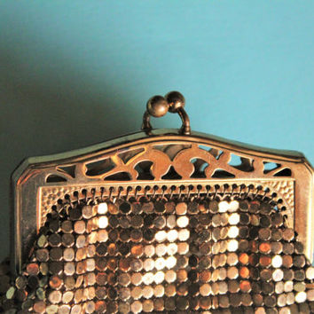 Art Deco 1930's Whiting & Davis Gold Brass Mesh Coin Purse