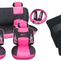 17pc Flames HOT Pink and Black Type R Racing Low Back Seat Covers with Head Rest Covers, Bench Cover with Head Rest Covers and Steering Wheel Cover with Shoulder Pads and a SET of Floor Mats