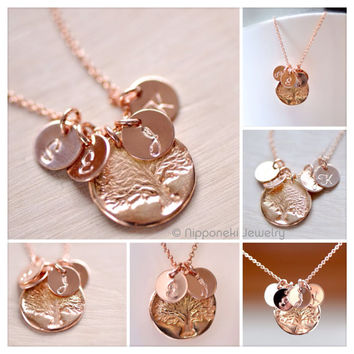 Mother's Necklace - Rose Gold Initial Charm - Rose Gold Vermeil Family Tree Charm, Personalized Necklace , Tree of Life , Grandma's Necklace