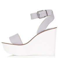 WAFFLE Two Part Wedge Sandals - Lilac