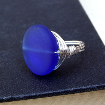 Cobalt Blue Sea Glass Ring:  Fine Silver Wire Wrapped Large Stone Royal Blue Nautical Beach Jewelry, Size 6.5