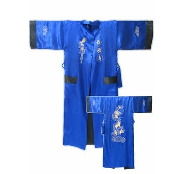 Blue/Black Chinese Men's Satin Silk Reversible Kimono Gown Robes Two-Face Lounge Sleepwear Embroidered Robe Gown One Size 011018