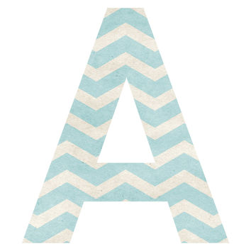 Sea Salt Chevron Patterned Letter Wall Decal