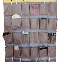 Wander Agio 30-pocket Hanging Over-the-door School Wall for Phone or Sundries and Jewelry Accessories Oxford Cloth Closet Organizer Earth