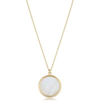 14K Yellow Gold Mother Of Pearl Disc Necklace, 18""