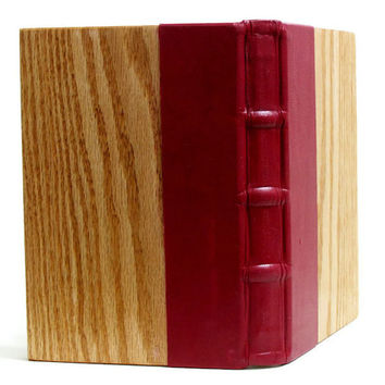 Handbound Red Leather Journal Medieval Wood Journal Red Leather Book Oak Wood Book Oak Wood Journal Medieval Book Lined Paper