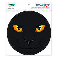 Black Cat Face - Pet Kitty Circle MAG-NEATO'S TM Car-Refrigerator Magnet