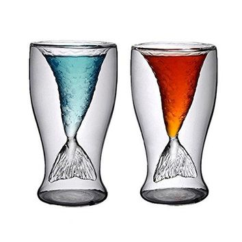 Mermaid Glasses,2 Pack 3.4oz Mermaid Wine Glasses,Mermaid Mugs for Women,Funny Shot Glass for Beer Whiskey Cocktail,Double Wall/Layer Crystal Mermaid Tail Cup for Girls