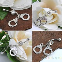 Bluelans Handcuffs Rhinestone Crystal Navel Belly Bar Button Barbell Rings Body Piercing 0037