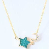 Moon and star necklace, Moon star jewelry, Moon star druzy necklace, Moon necklace, star necklace, gold danity necklace, moon choker star