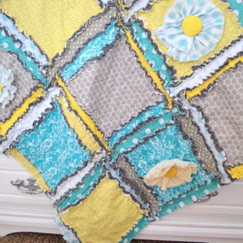 RAG QUILT, Small Crib Quilt, Ruffled Flower in Gray, Turquoise, Yellow, Custom, Made to Order