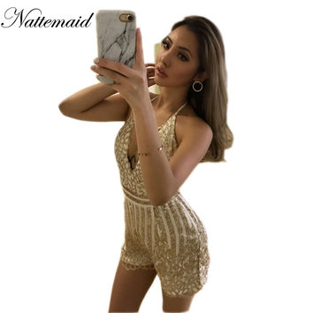 2017 Summer sequins outfits Gold  flare Overalls Sexy gold lace bodysuit women Deep v neck Mesh jumpsuit floral Rompers
