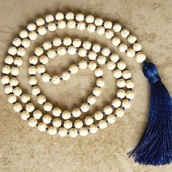 Howlite Mala Bead Knotted Necklace 108 Mala Bead Necklace Prayer Necklaces Yoga Mala meditation Beads Jewelry Tassel Necklaces