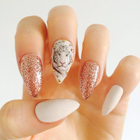 white tiger nails rose gold glitter nails white stiletto false nails