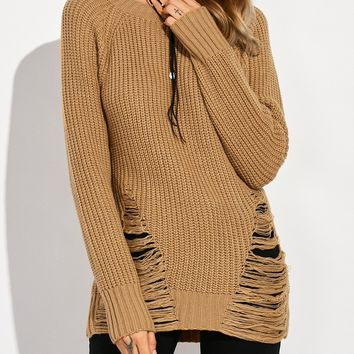 Crew Neck Chunky Ripped Sweater - Brown - L