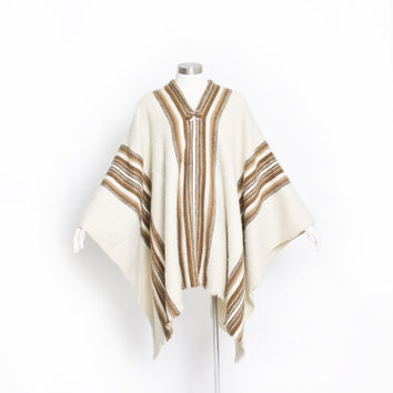 Vintage 60s Poncho - Alpaca Wool Ivory Striped Brown Boho Hippie Coat 1970s - OSFM