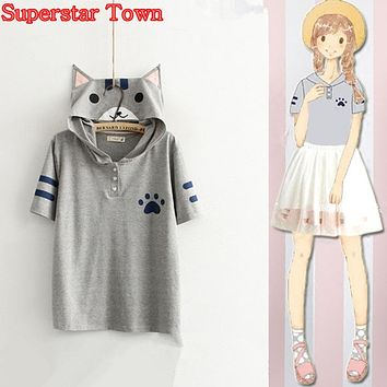 Anime Kawaii Cat Shirt Neko Atsume Tee Tshirt With Cat Ears