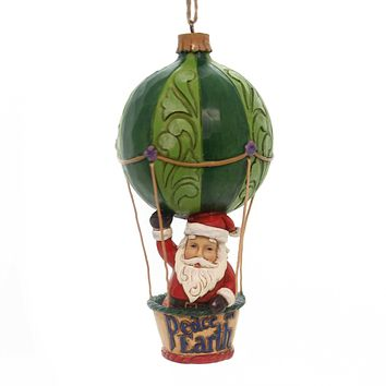Jim Shore SANTA IN HOT AIR BALLOON ORN Polyresin Heartwood Creek 6001511
