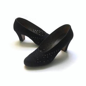 1940's Black Suede Shoes | 40's Pumps | Cut Out Detail | Black Vintage Shoes | Made In England