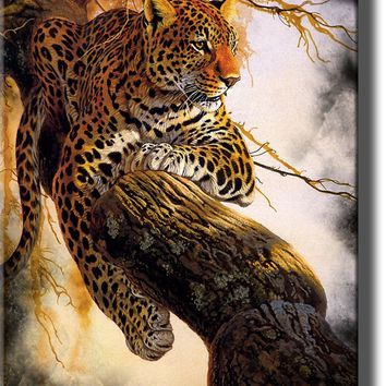 Leopard on a Tree, Wildlife By Al Agnew Picture on Acrylic , Wall Art Decor Framed Ready to Hang!.