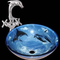Glass Sinks Blue Dolphins Glass Sink And Dolphin Faucet Combo