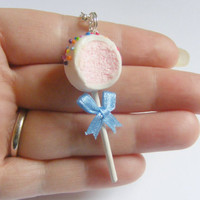 Cake Pop Miniature Food Pendant Necklace - Miniature Food Jewelry, Handmade Jewelry Necklace