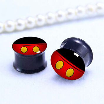 mouse  pants ear Plug  ,cute animal pricing body jewerly , Screw on Gauge ear plugs , Black Titanium ear plugs ,