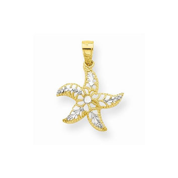 10k Two Tone Gold Concave Starfish Pendant