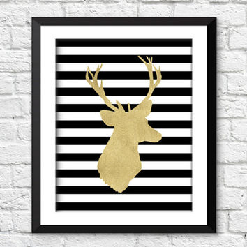 Deer antlers art print, gold deer art print, gold nursery print, rustic home decor, deer home decor, living room decor