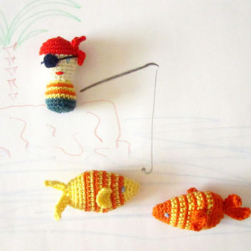 Pirate and fishes amigurumi crochet plush toys. Soft toy, stuffed toy, imagination mover, creative toy