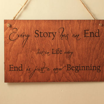 New beginning sign Wood sign Modern wall art Sign with quote Small sign Wood saying Laser cut Laser engraved Wall quote Motivation sign