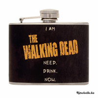 THE Flask for Walking Dead & Zombie Fans - Hand Decorated 4 Ounce