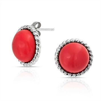 Bling Jewelry Antique Style Rope 925 Silver Round Red Simulated Coral Stud Earrings 12mm