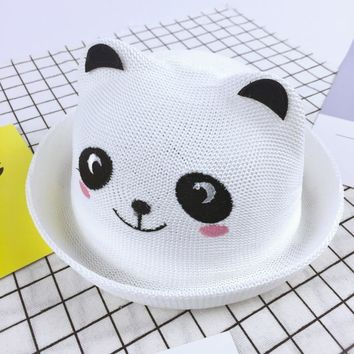 Cartoon Panda Bear Kids Hat Straw Floppy Bucket Panama Hats For Children Headwear Girl Caps Boys Summer Round Visor Sun Hat