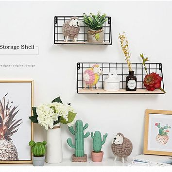 Wooden Iron Storage Wall Shelves