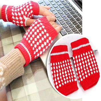 New Hot Winter Warm Knitted Fingerless Gloves Pineapple Pattern Half Finger Gloves Mittens Women Fashion Accessory Gifts