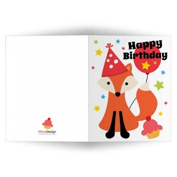 Fox with party hat, cupcake and colorful stars Happy Birthday card