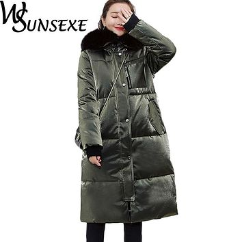 Winter Jacket Women Shiny Cotton Down Faux Fur Hooded Coat 2017 New Autumn Warm Thicken Outwear Fashion Bright Streetwear Parkas