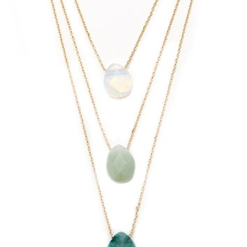 Faux Stone Necklace Set
