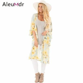 Aleumdr New 2017 Summer Womens Bathing Suit Cover Ups Floral Side Slit Boho Kimono Beach Tunic Lc42216 Saida De Praia