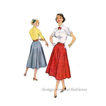 "1950s 8 Gore SKIRT w/ Button Tab Closure, Mid-Calf Length Waist 30"" 76cm McCalls 9448 Vintage Women.s Misses Sewing Patterns Easy to Sew"