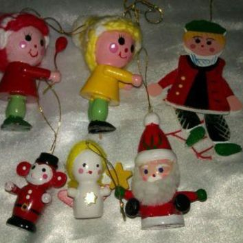 VINTAGE WOODEN CHRISTMAS ORNAMENTS MINIATURES SET OF 6